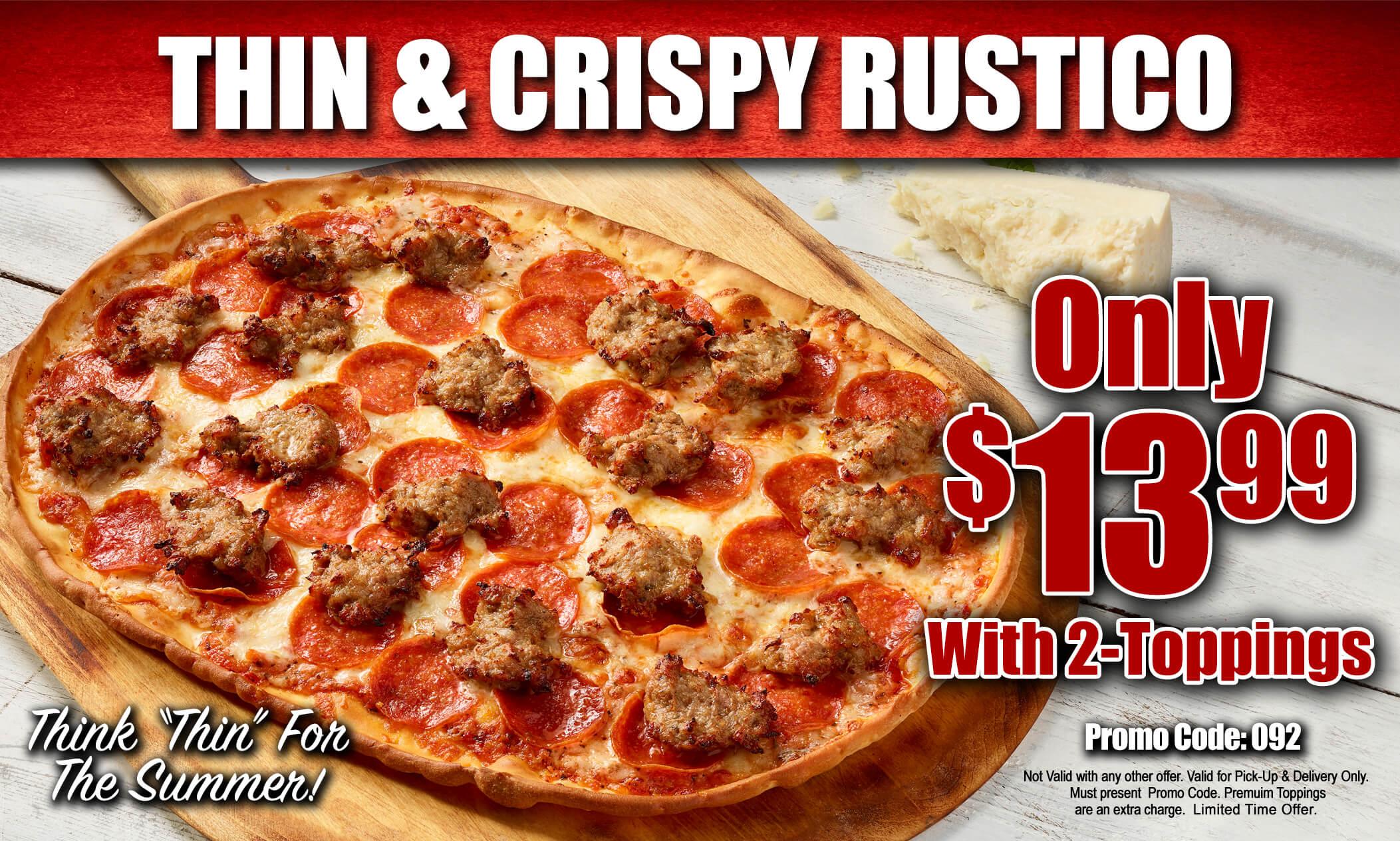promo : Thin And Crusty Rustico pizzas at Antonio's Pizza